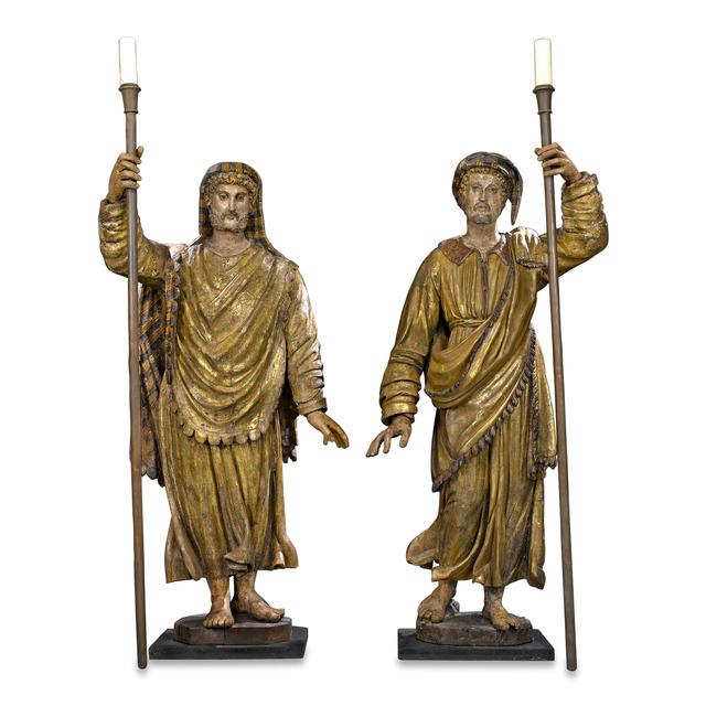 Unknown Artist, '17TH-CENTURY VENETIAN FIGURAL TORCHÈRES', 1600-1630, Sculpture, Wood,  M.S. Rau