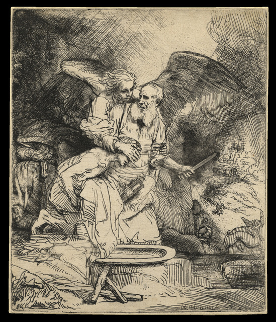 , 'Abraham's Sacrifice 1655 B. 35, only state; H. 283 etching and drypoint,' 1654, C. G. Boerner