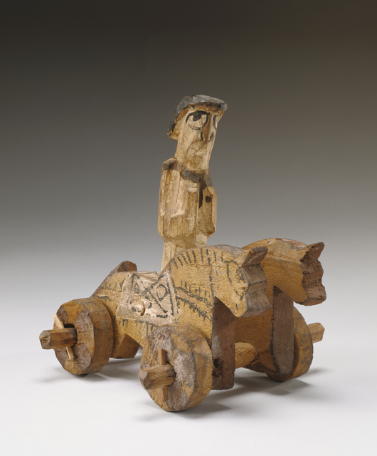 'Toy in the Shape of a Rider and Two Horses on Wheels',  4th century, J. Paul Getty Museum