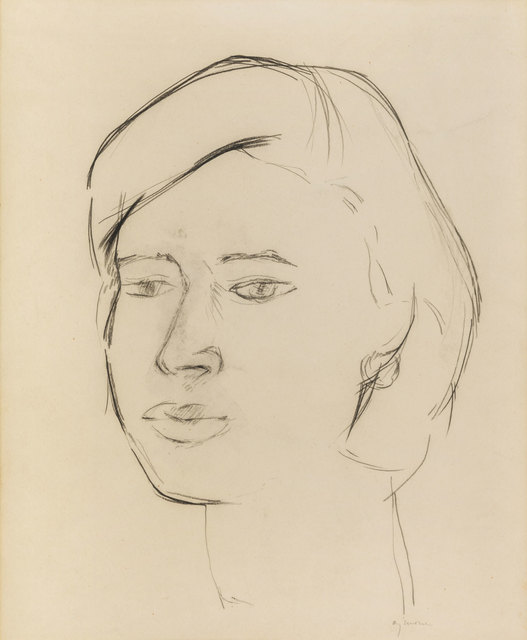 Giuseppe Ajmone, 'A woman's face', Drawing, Collage or other Work on Paper, Pencil on paper, ArtRite