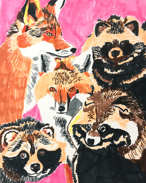 Myasia Dowdell, 'Foxes and Raccoon', 2017, Land Gallery/NAP Projects