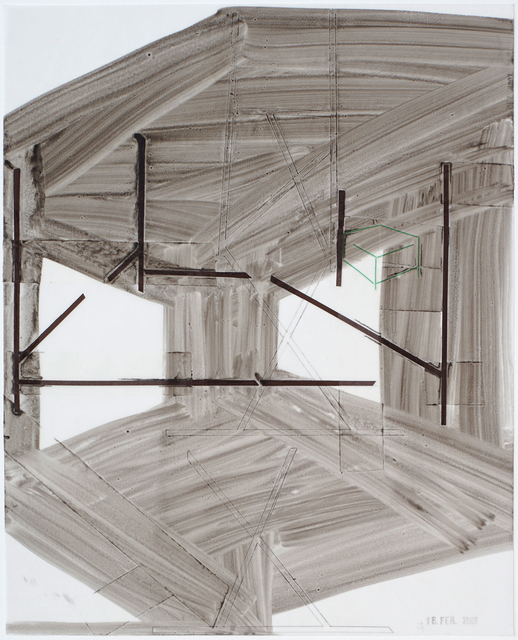, 'Grün im Grau, stamped 16. Feb  2017,' 2017, Galerie Heike Strelow