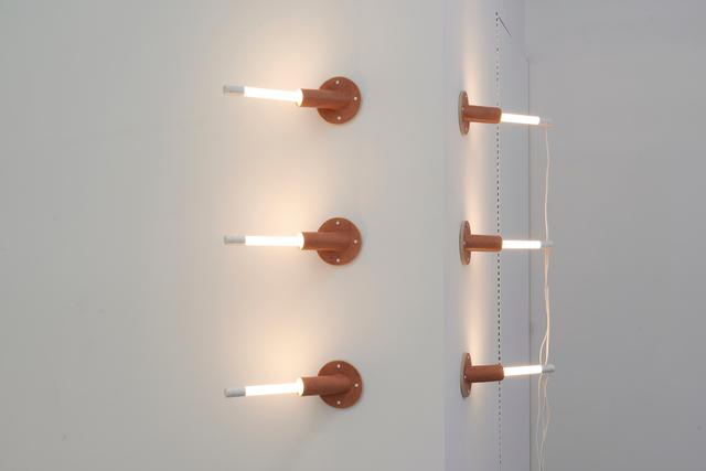 Dana Hemenway, 'Untitled (Wall Weave)', 2019, Installation, Ceramics, LED lights, extension cords, Eleanor Harwood Gallery