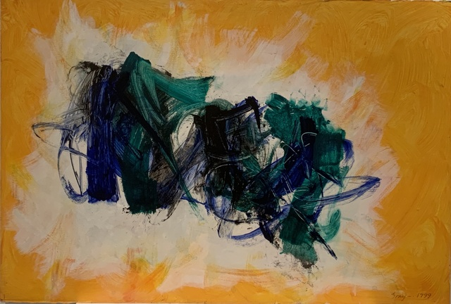 Cleve Gray, 'Untitled (Blue & Green)', 1999, Painting, Acrylic on Arches paper, Anders Wahlstedt Fine Art