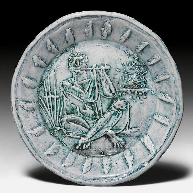Pablo Picasso, 'Joueur de flûte', 1951, Design/Decorative Art, Plate. Ceramic painted in green and blue., Koller Auctions