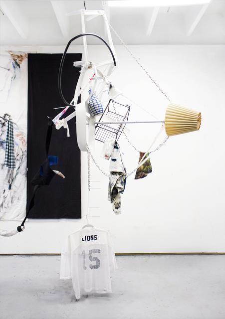 , 'Untitled (Lions) Chandelier Module #1, Metal, vase, fabric, oil on t-shirts, dimensions variable ,' 2019, Spinello Projects