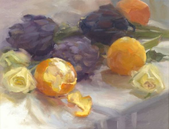 Mary Beth Karaus, 'Oranges and Purple Artichokes', 2008, Wally Workman Gallery
