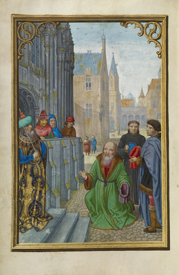 Simon Bening, 'Joseph of Arimathea Before Pilate', 1525-1530, Tempera colors, gold paint, and gold leaf on parchment, J. Paul Getty Museum