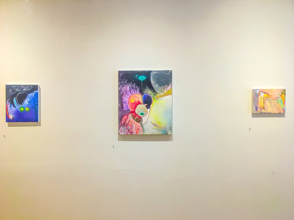 "Brian Wood: Paintings installation view at Cross Contemporary Art Aug. 25-Sept 24, 2017 Left to right: ""Volute"" 14"" x 12"", ""Heartshorn"" 24 x 20"", ""Locks"" 9"" x 12"" © Brian Wood 2017"