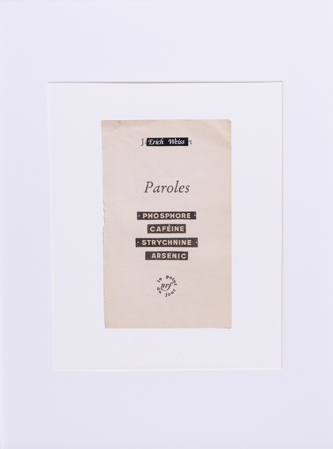 , 'PAROLE PAROLE  ,' 2017, Hans & Fritz Contemporary
