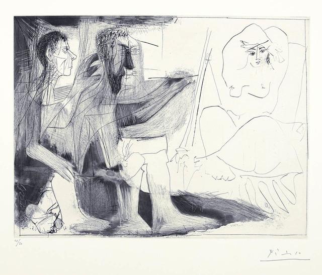 Pablo Picasso, 'Peintre au travail [Peintre barbu avec modele nu et un spectateur] 1 novembre', 1963, Print, Aquatint, burin, and drypoint, Marlborough New York