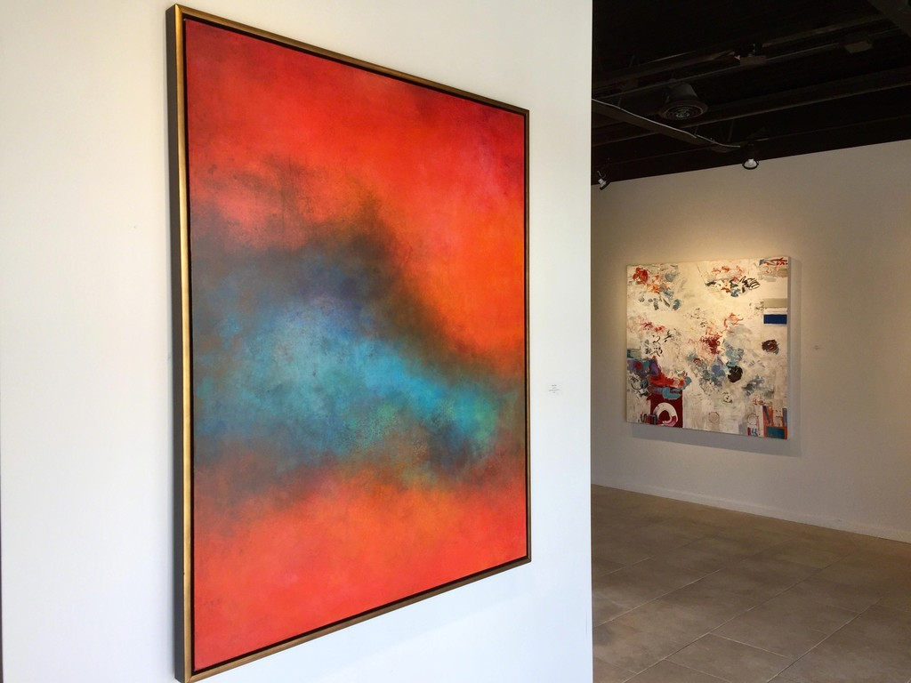 Signs of Spring exhibition, (L) Scott Upton, Nature Sings, mixed media on canvas, 60 x 48 inches; (R) Chris Hayman, Red Circle, oil on canvas, 60 x 60 inches