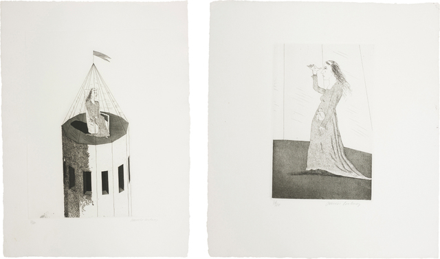 David Hockney, 'The Princess in Her Tower; and The Princess Searching, plates 2 and 5 from Illustrations for Six Fairy Tales from the Brothers Grimm', 1969, Phillips