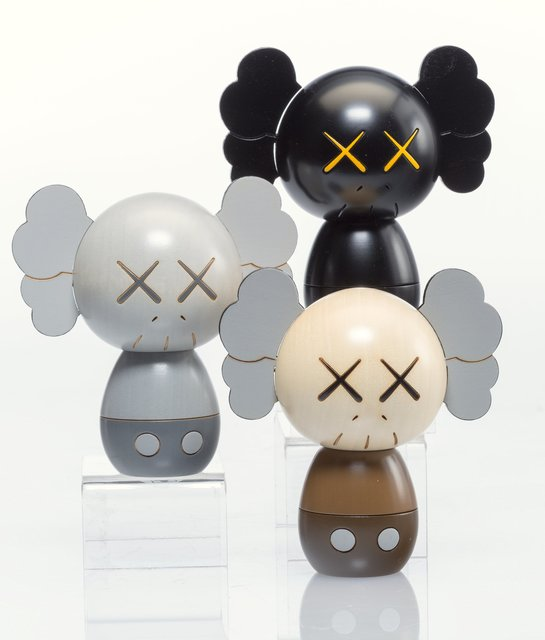 KAWS, 'Kokeshi Doll, from Holiday Series, set of three', 2019, Sculpture, Painted wood, Heritage Auctions