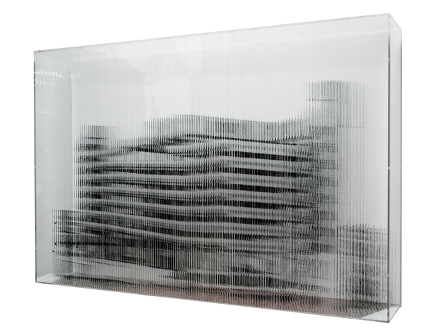 , '44,535 inches of nylon monofilament and black acrylic,' 2011, Bryce Wolkowitz Gallery