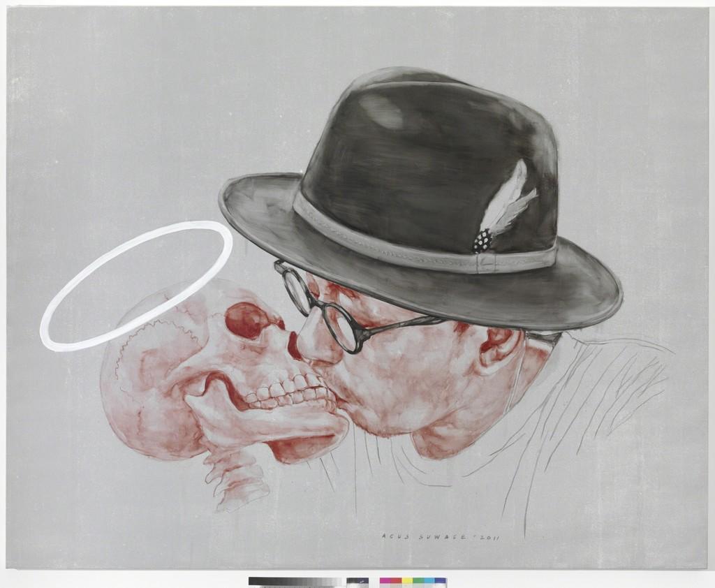 """Agus Suwage """"The Kiss #5"""" (2011), oil and acrylic on canvas, 200 x 250 cm"""