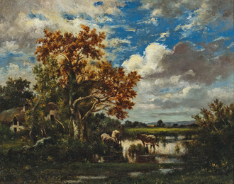 Early Autumn Landscape with Cows Watering