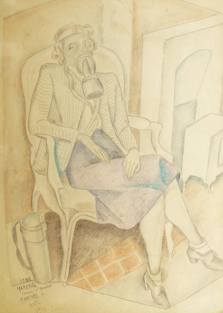 Marie Vorobieff Marevna, 'Madame Bourdet in gas mask, Cannes 1941-42', Roseberys