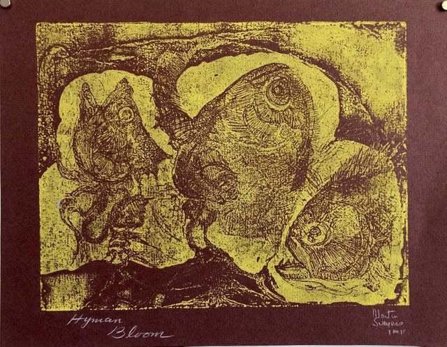 Hyman Bloom, 'Boston Abstract Expressionist Color Hyman Bloom Monoprint Etching Print Fish ', 20th Century, Print, Etching, Monoprint, Lions Gallery