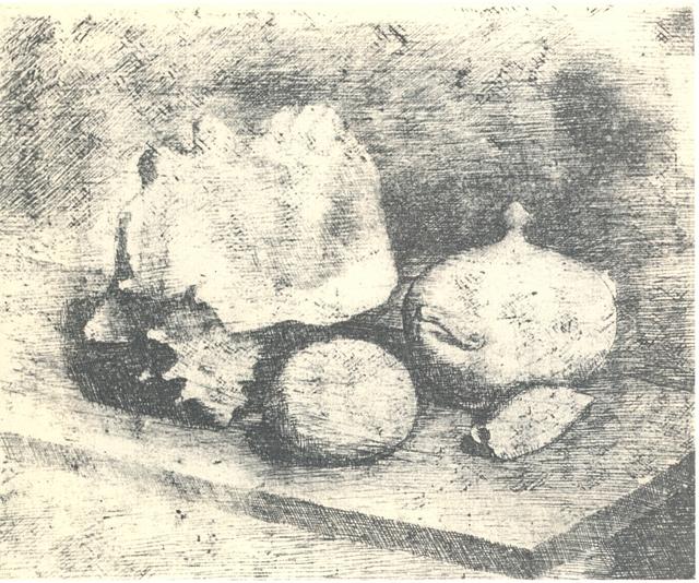 , 'Natura morta con zuccheriera, conchiglia e frutto,' 1921, Galleria d'Arte Maggiore G.A.M.
