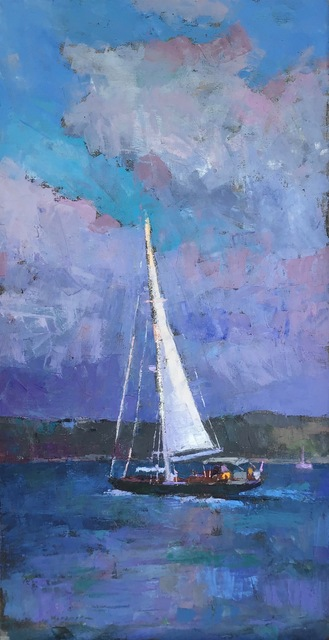 ", '""Sailing"" oil painting of a sailboat on the water with clouds behind,' 2018, Eisenhauer Gallery"