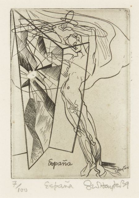 Stanley William Hayter, 'España [Black & Moorhead 127]', 1939, Print, Engraving and scorper with white hand-colouring on wove, Roseberys
