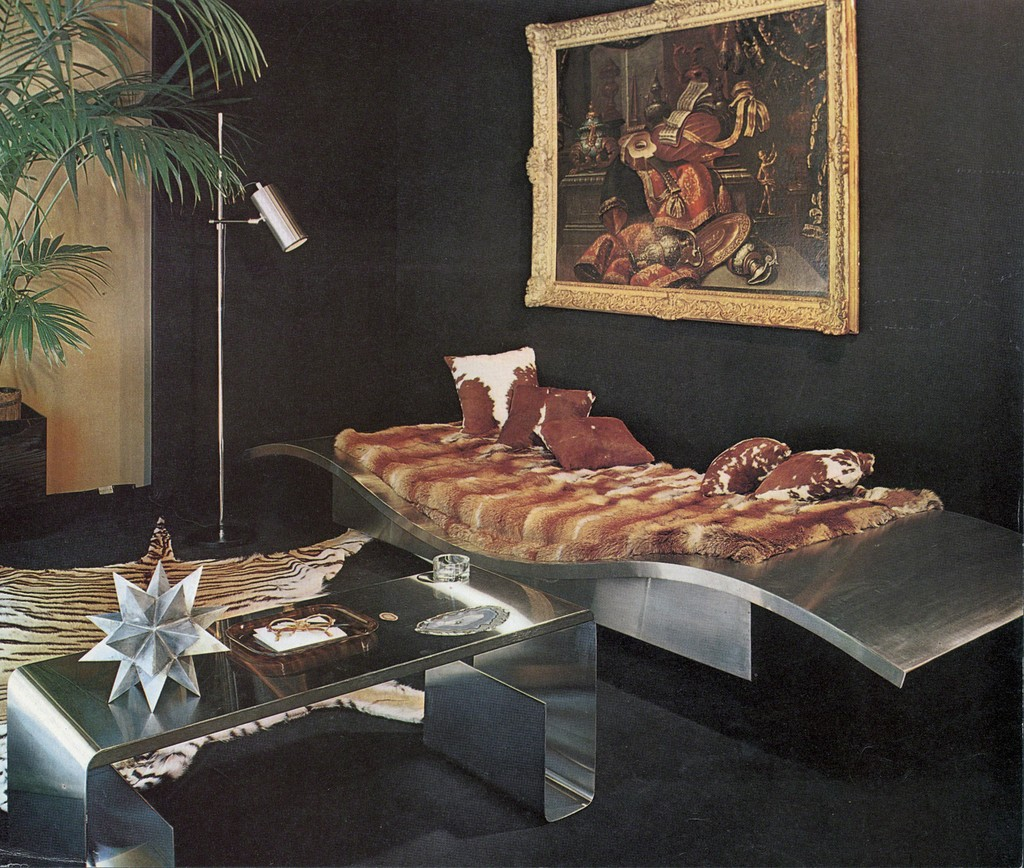 "Maria Pergay's ""Flying Carpet"" daybed and stainless steel and amethyst low table at Maison et Jardin, an exhibition organized by decorator Jean Dive, Paris, May 1968, as reproduced in ""Plaisir de France,"" January 1969. This exhibition presented Pergay's first collection of stainless steel furniture, establishing Pergay as one of the most innovative French furniture designers of her time."