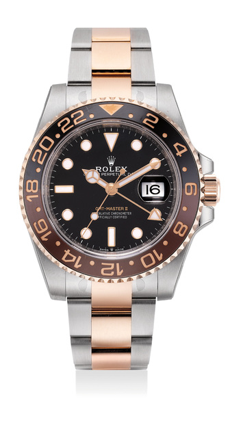 Rolex, 'An attractive two-tone pink gold and stainless steel dual time wristwatch with center seconds, date, ceramic bezel, bracelet, guarantee and box', Circa 2018, Phillips
