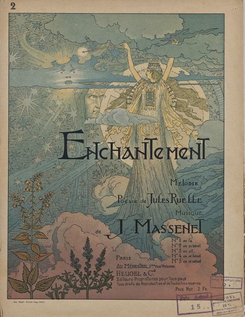 Eugène Samuel Grasset, 'Cover for the sheet music of Enchantement by Jules Massenet', ca. 1890, Hammer Museum