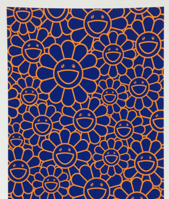 Takashi Murakami, 'AUGUST JOY SILKSCREEN (ORANGE/BLUE FLOWERS)', 2019, Dope! Gallery
