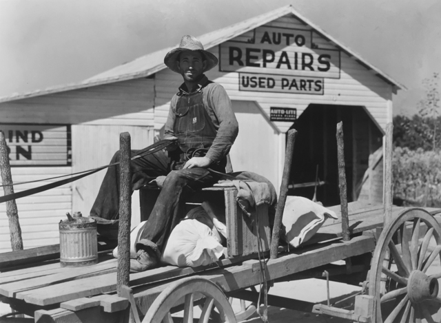 , 'Auto Repairs, Used Parts, Man in Wagon with Supplies,' ca. 1940, G. Gibson Gallery