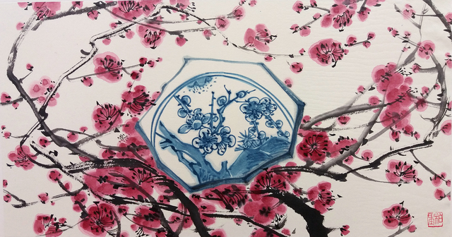 Hyo Bin Kwon, 'Blue and white Impressions - Blossom', 2018, Kate Oh Gallery
