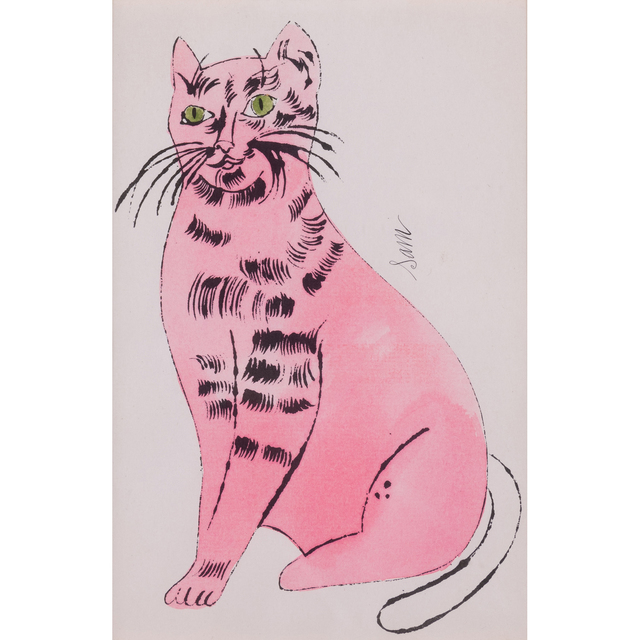 """Andy Warhol, 'Sam the Cat, from """"25 Cats Name(d) Sam and One Blue Pussy""""', 1954, Print, Offset Lithograph with watercolor on laid paper, PIASA"""