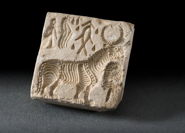 , 'Bull-like composite creature and 'script',' Harappan period, 2200–1800 BC Banawali, Haryana, India, Jehangir Nicholson Art Foundation
