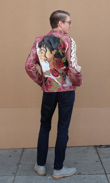 Joseph Green, 'Michael Jackson (Red Jacket)', 2018, Textile Arts, Mixed media on leather jacket, modeled by Michael Korcek, Creativity Explored