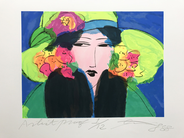 Walasse Ting 丁雄泉, 'Lady with the lime hat', 1988, Kunzt Gallery