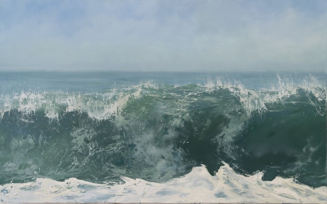 """Annie Wildey, '""""Morning Crest"""" Oil painting of cresting wave and sky in blues and greens ', 2010-2018, Eisenhauer Gallery"""