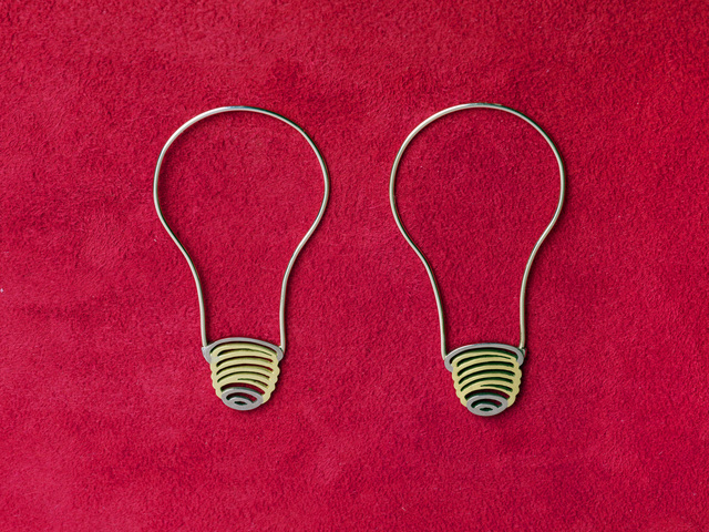 Michael Craig-Martin, ''Light Bulb Hoop' Earrings', 2008, Jewelry, 18k yellow & white gold, Louisa Guinness Gallery