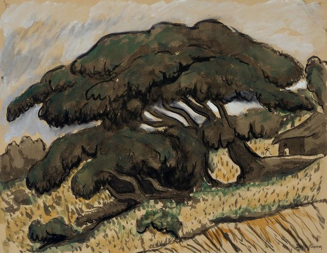 Diego Rivera, 'Shade Trees with House and Figures, circa', 1935, Doyle