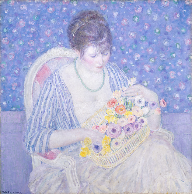 Frederick Carl Frieseke, 'The Basket of Flowers', ca. 1913/1917, National Gallery of Art, Washington, D.C.