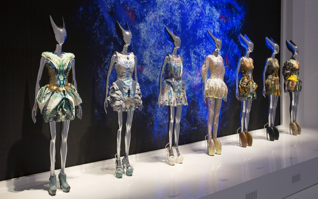 Installation view of 'Platos Atlantis' gallery. Alexander McQueen: Savage Beauty, at the Victoria and Albert Museum, London,  2015