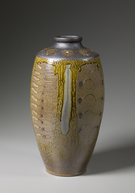 , 'Ten-gallon vase, yellow ash glaze with black slip shoulder and neck, decorative panels, and blue glass runs,' 2016, Pucker Gallery