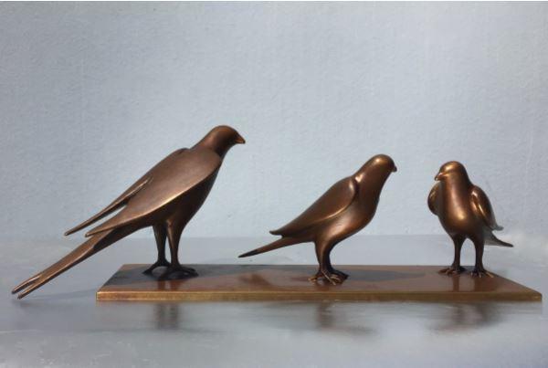 , '3 Birds on Bronze Plate,' , Diehl Gallery