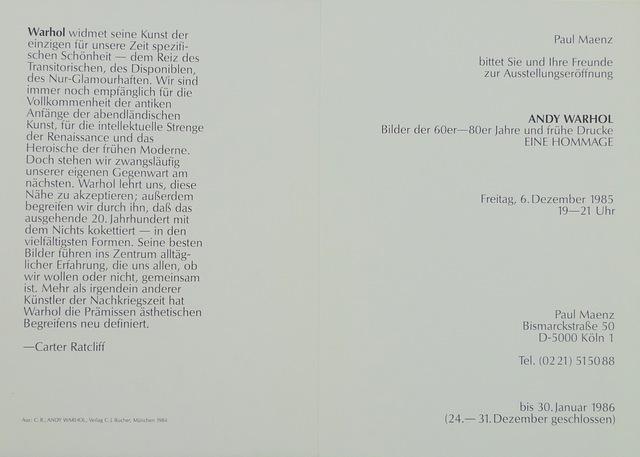 Andy Warhol, 'Bilder de 60er-80er Jahre und Ruhe Drucke', 1985, Bengtsson Fine Art