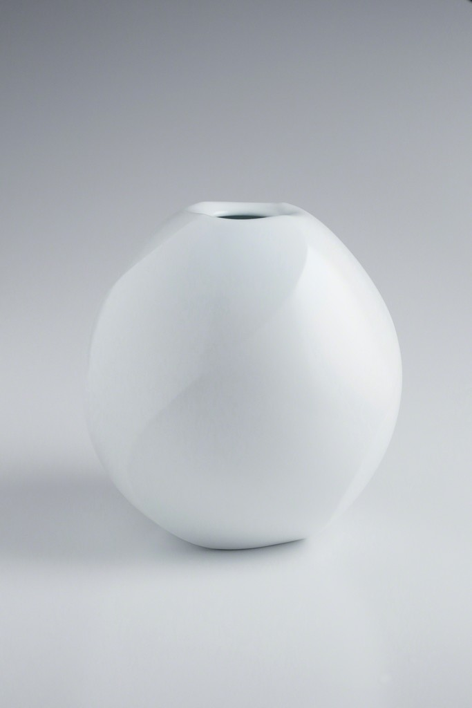 White Porcelain Twisted Faceted Jar