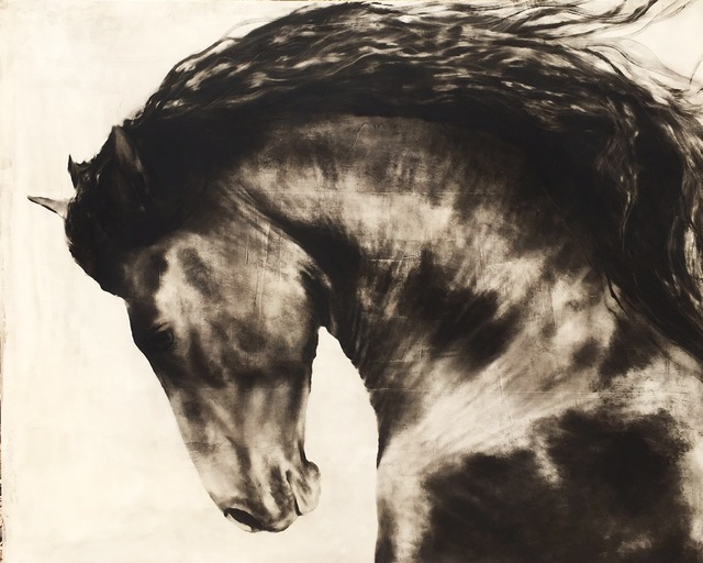 "Kenneth Peloke, '""Born King"" Large scale Black and White Majestic Depiction of Horse Running', 2010-2017, Painting, Oil on Panel, Eisenhauer Gallery"