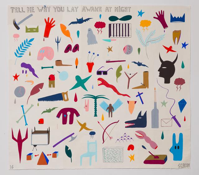 , 'Tell me why you lay awake at night,' 2016, Hans Alf Gallery