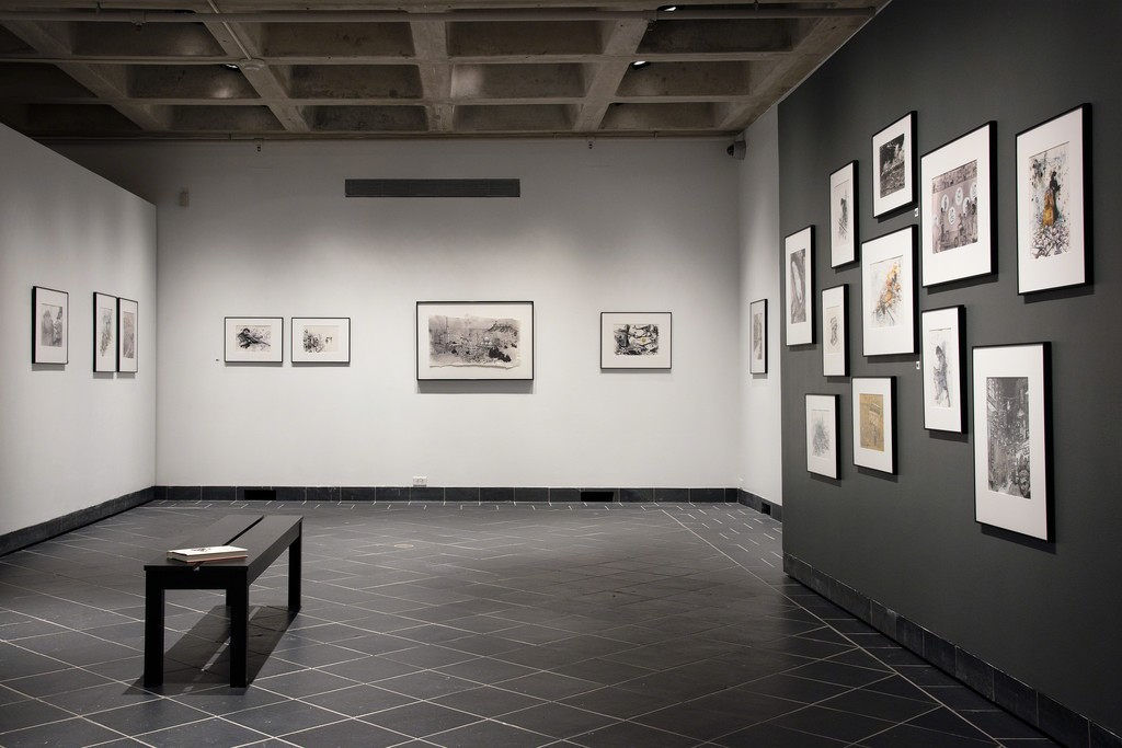 Installation view, Syria in Ink at Cantor Fitzgerald Gallery. Photo: Lisa Boughter.