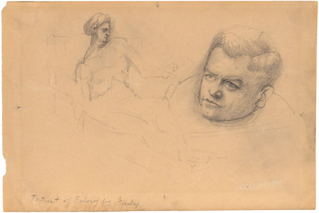 Arshile Gorky, 'Portrait of Schary', circa 1938-42, Drawing, Collage or other Work on Paper, Graphite on paper, Doyle