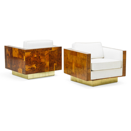 Pair Of Cityscape Swivel Lounge Chairs, USA